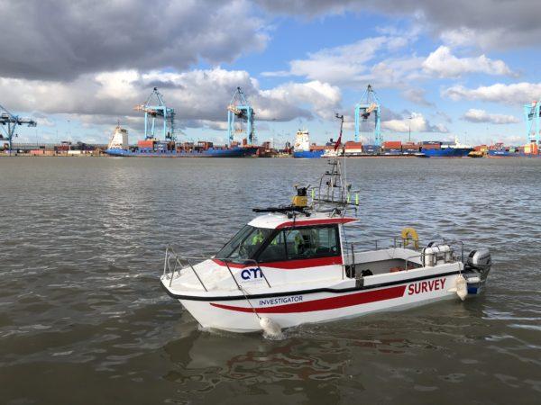 survey vessel investigator floating in port