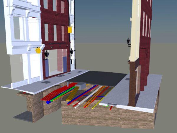 road peeling away on 3d model to show utilities underneath