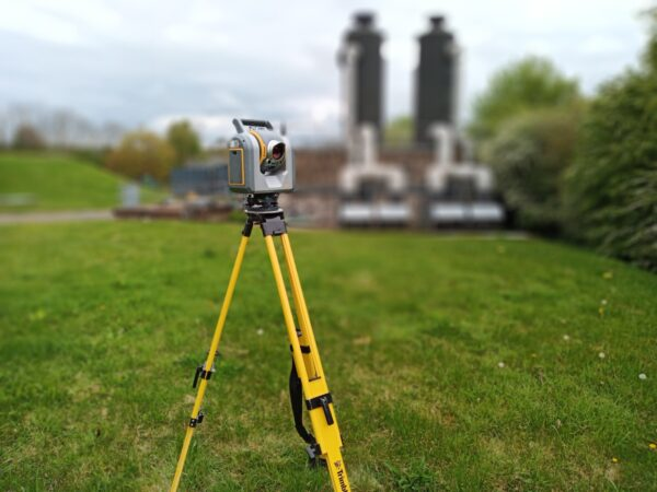 trimble sx10 at plant site with background blurred