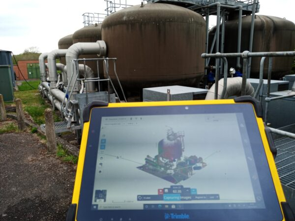 close up view of data on tablet at a plant site