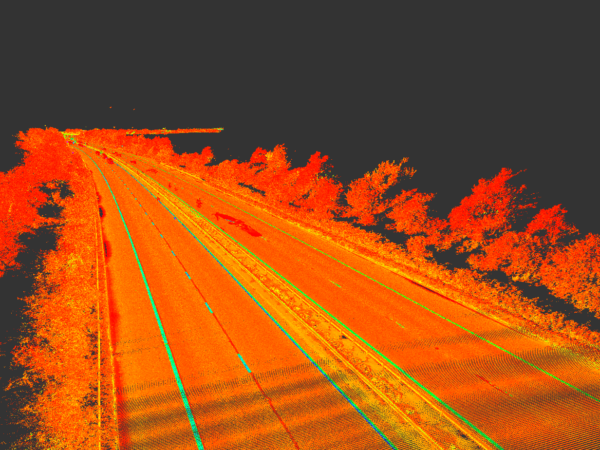 point cloud from mobile mapping survey of m4 motorway