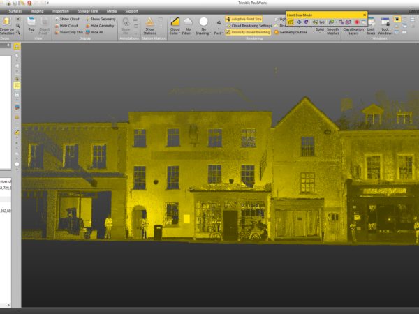 point cloud of building facade within trimble realworks