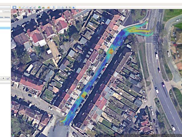 pavement survey data overlaid onto google earth