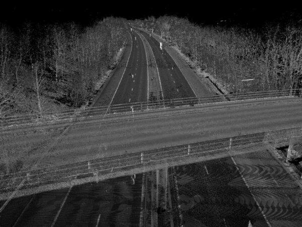 point cloud of bridge going over a motorway
