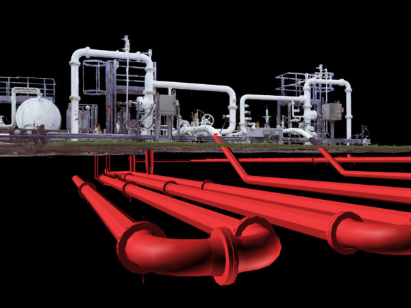 3d model of plant structure and underground pipe network
