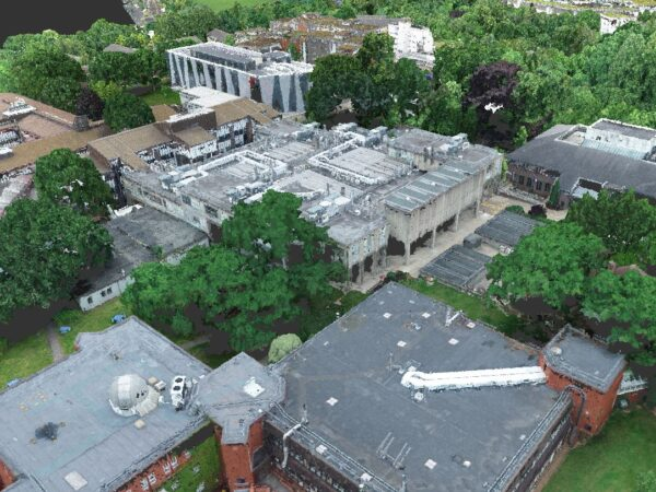 drone survey output of bourne building at royal holloway university